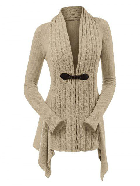 51 Off 2019 Cable Knit Buckle Asymmetrical Cardigan In Light Khaki