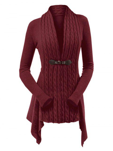 Cable Knit Buckle Asymmetrical Cardigan - RED WINE M