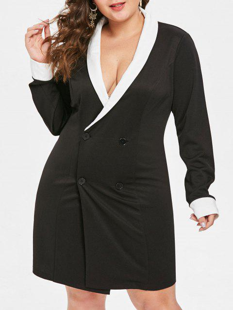 Plus Size Shawl Collar Knee Length Dress - BLACK 5X