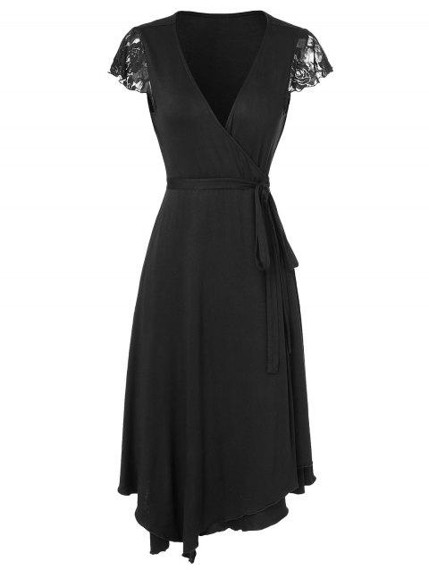 V Neck Lace Trim Wrap Dress - BLACK L