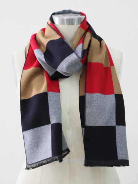 Colored Plaid Winter Long Scarf - RED
