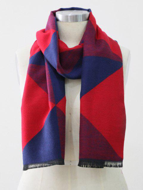 Color Block Fringed Long Scarf - RED