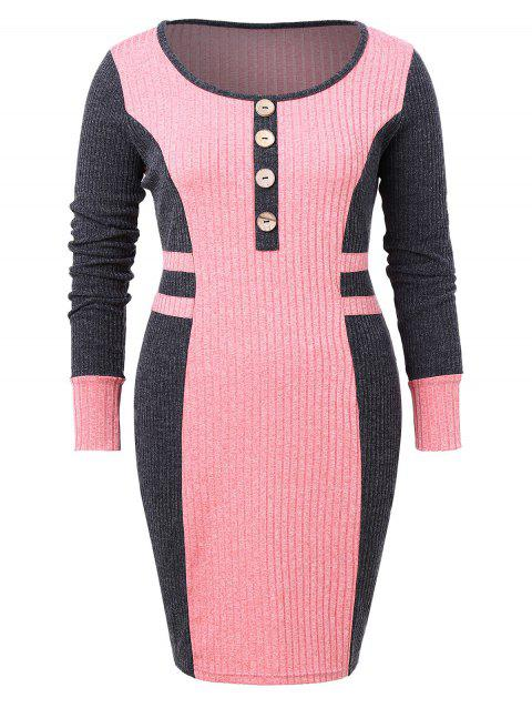 Plus Size Ribbed Color Block Bodycon Dress - PINK 1X