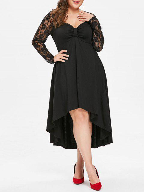 Plus Size Sheer Lace Sleeve Knot Neck High Low Hem Dress - BLACK 2X