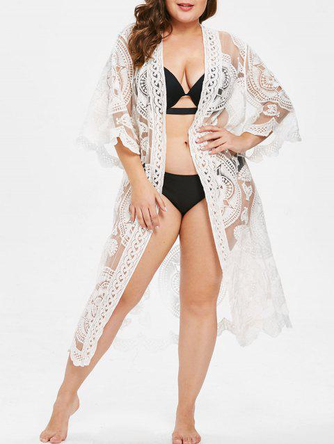 Open Front Plus Size Lace Panel Cover Up - MILK WHITE ONE SIZE