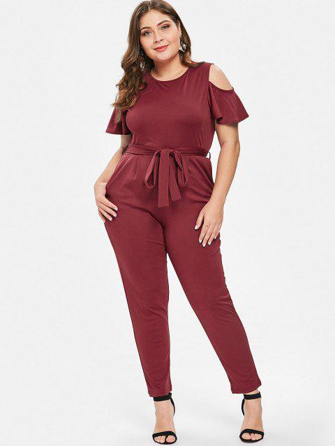 83a29572335 17% OFF] 2019 Plus Size Cold Shoulder Belted Jumpsuit In RED WINE ...