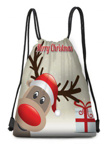 Merry Christmas Deer Drawstring Gift Bag