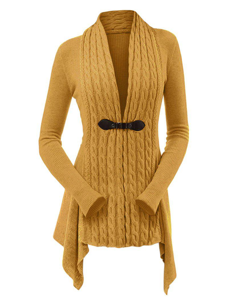 Cable Knit Buckle Asymmetrical Cardigan - BEE YELLOW XL