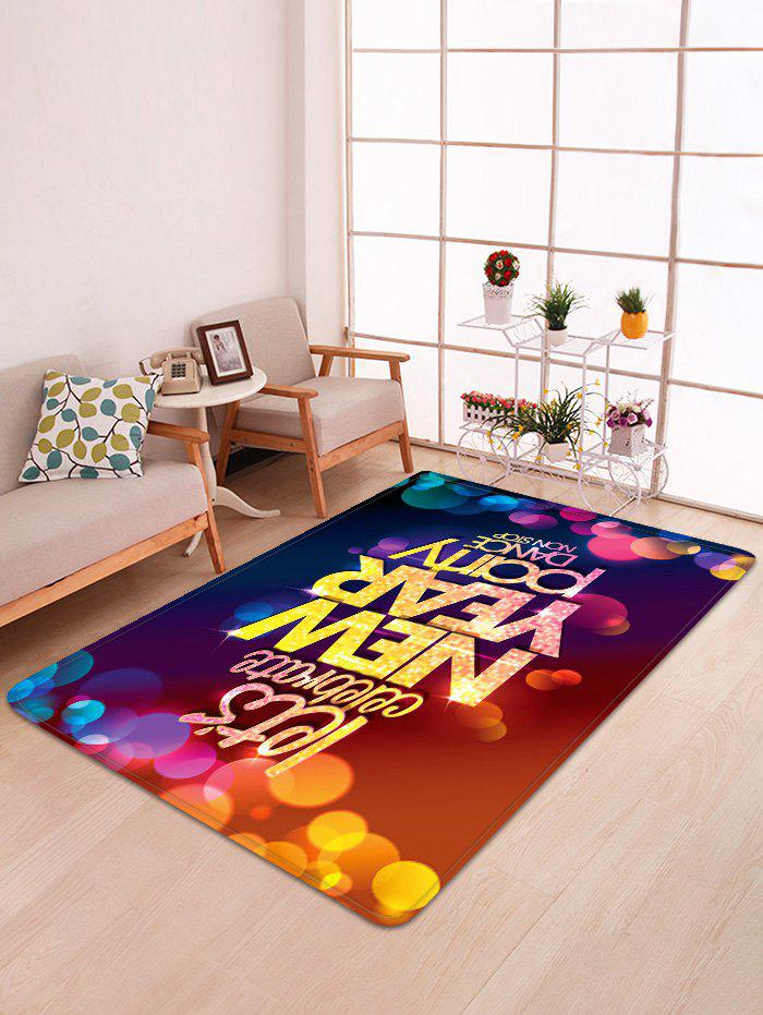Happy New Year Letter Pattern Non-slip Area Rug - multicolor W47 X L63 INCH