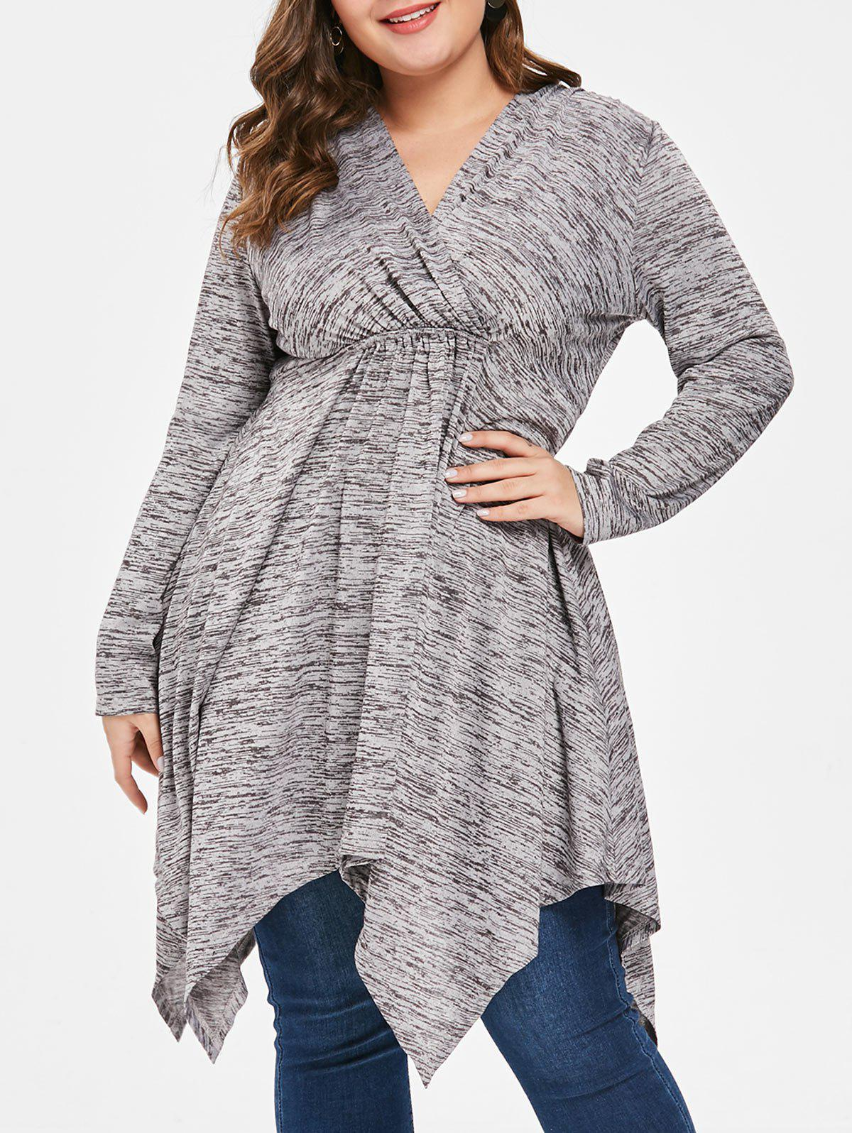 Plus Size Space Dyed Handkerchief T-shirt - GRAY 1X