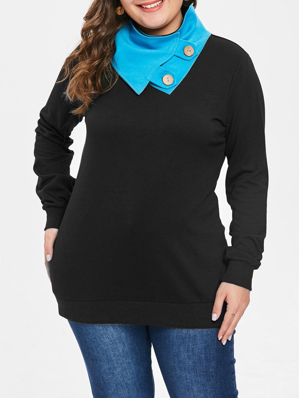 Plus Size Button Embellished Sweatshirt