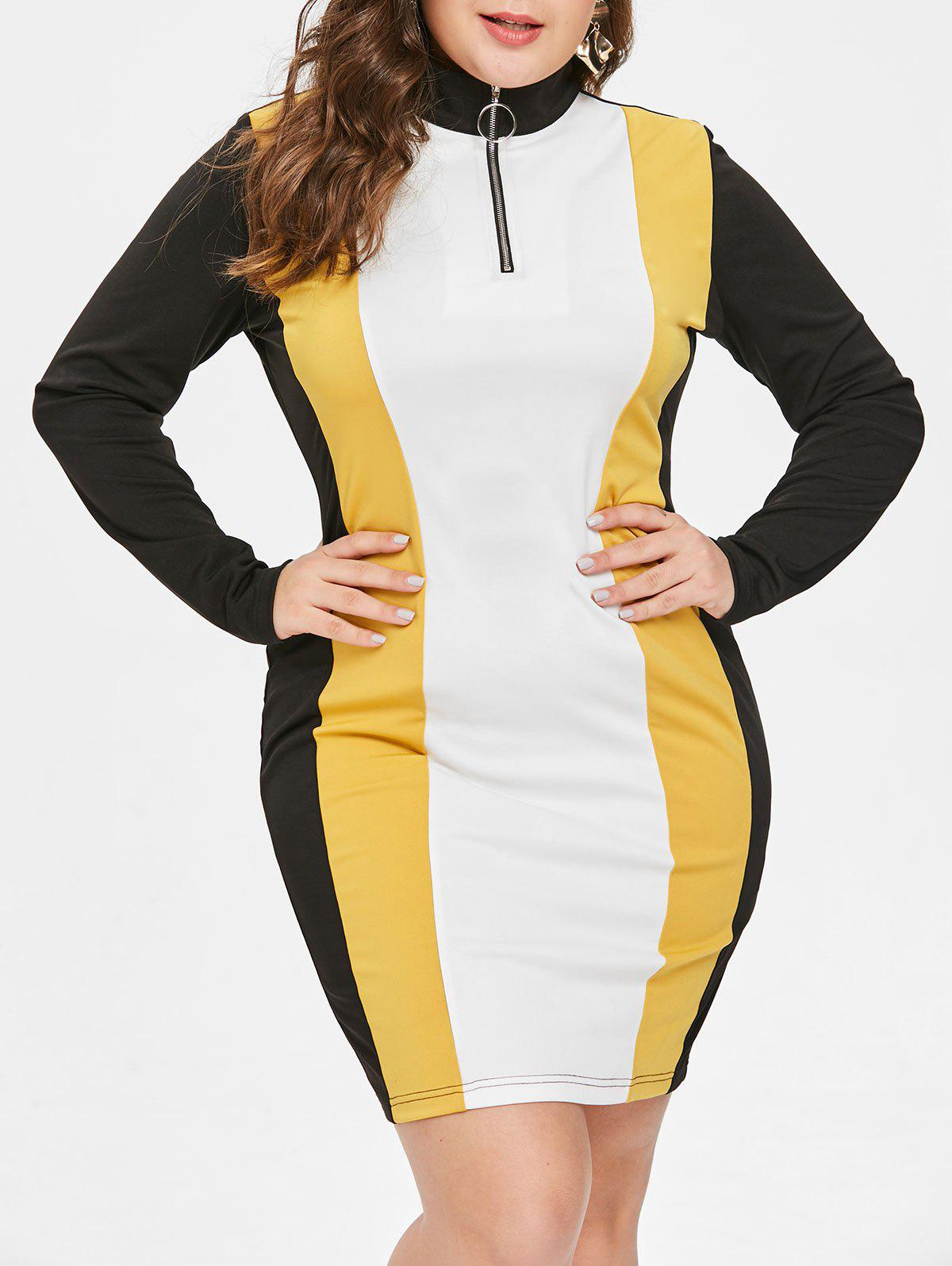 Plus Size Color Block Half Zipper Bodycon Dress фото