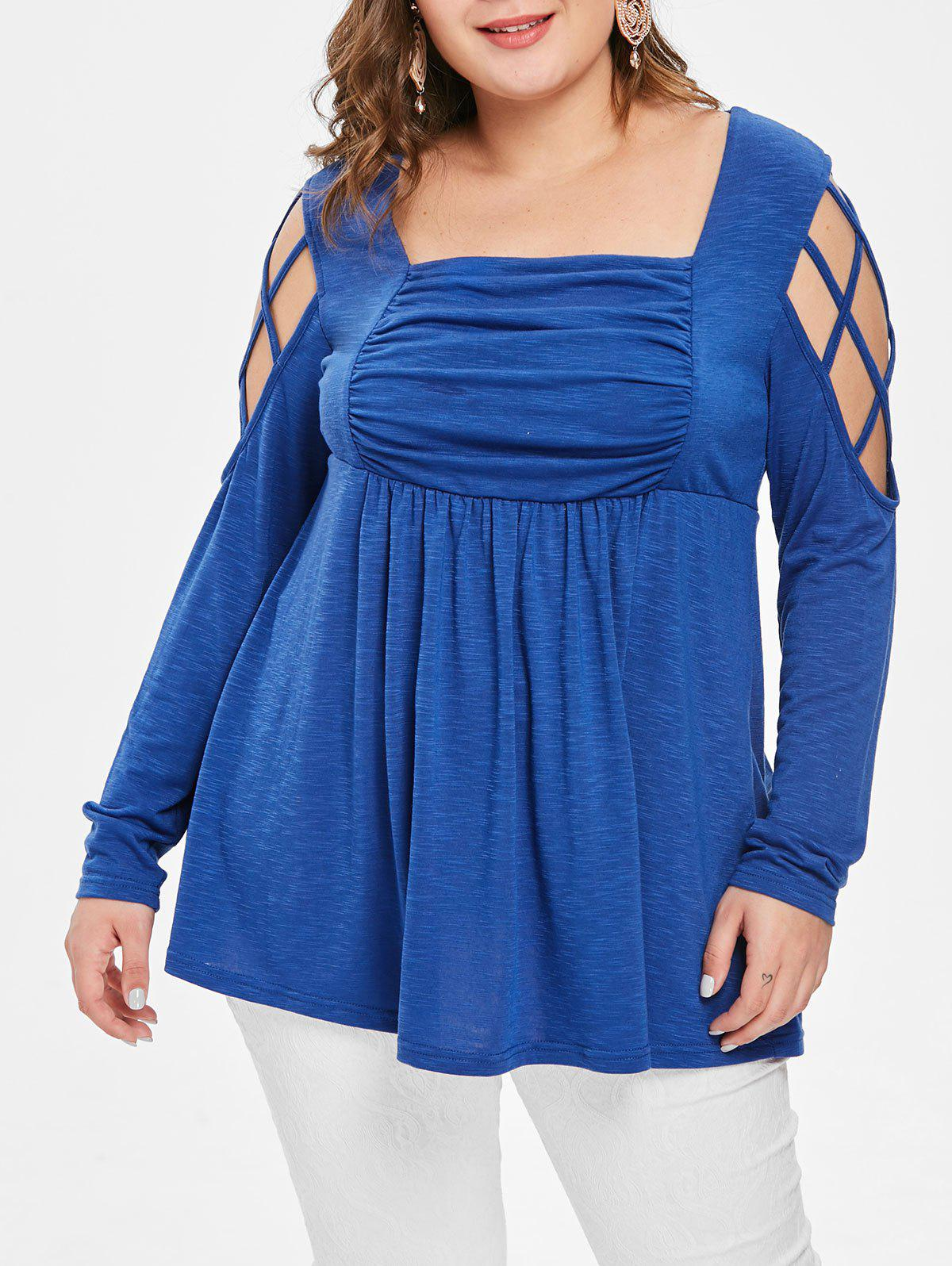 Plus Size Cut Out Strappy Long Sleeves Tee - SILK BLUE 4X