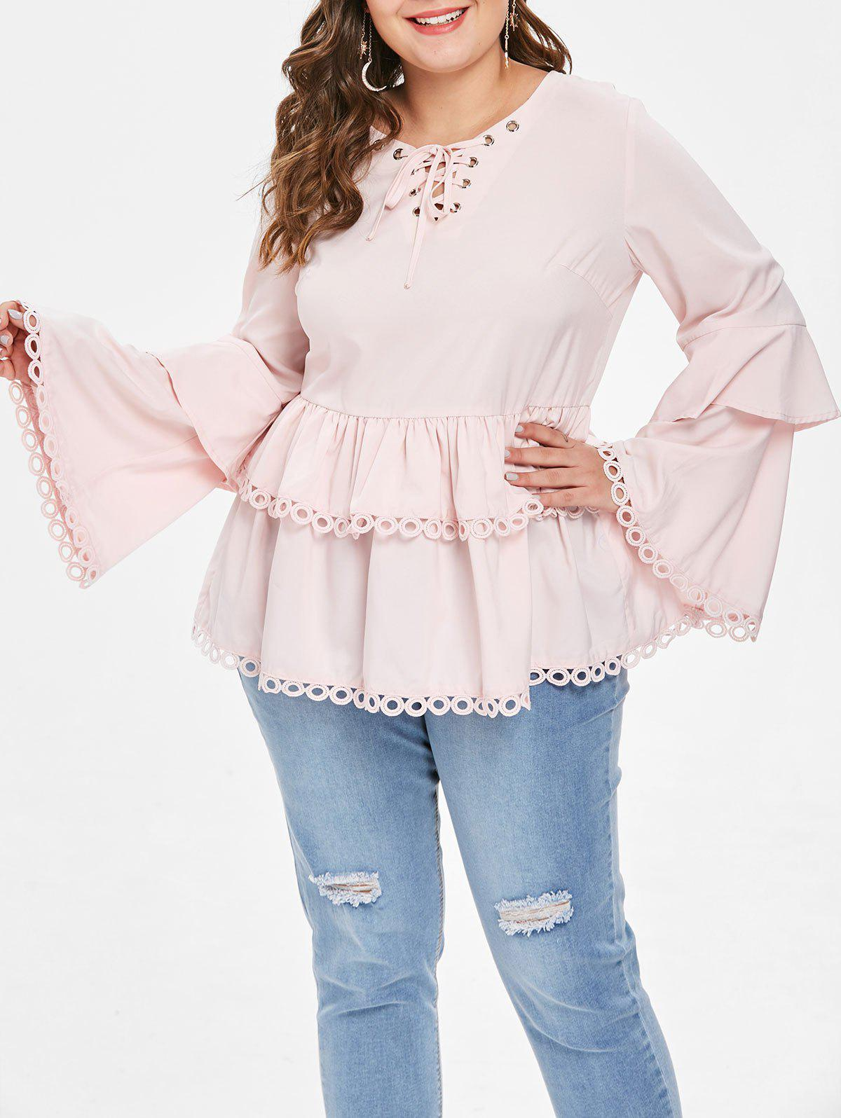 Plus Size Lace Up Flare Sleeves Frill Blouse - LIGHT PINK L