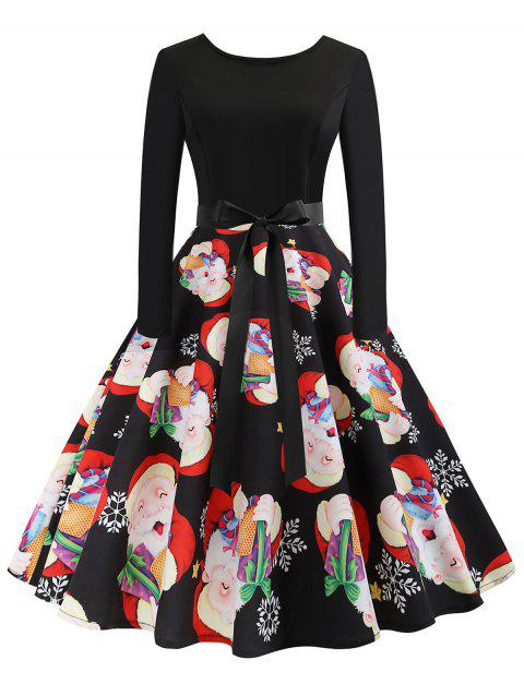 Christmas Santa Claus Print Fit and Flare Dress - multicolor M