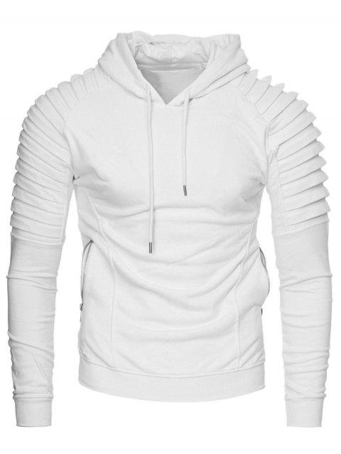 Solid Pleated Zip Pocket Fleece Hoodie