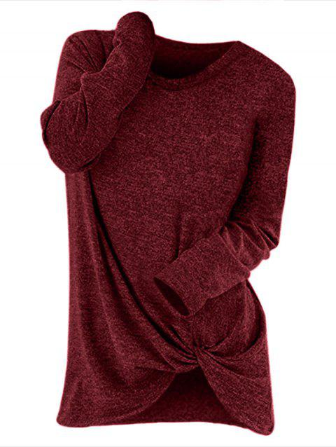 Round Neck Knotted Pullover Sweater - RED WINE L