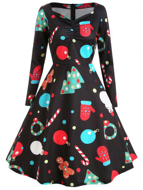 Christmas Sweetheart Neck Printed Swing Dress - NIGHT 2XL