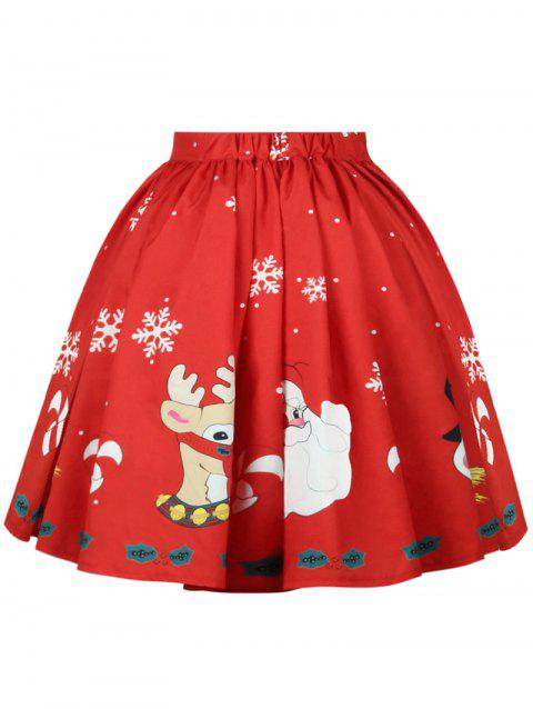 Plus Size Christmas A Line Printed Skirt - RED 1X