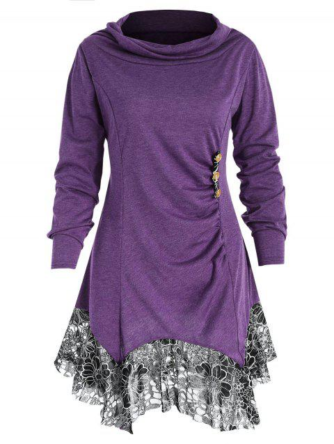 Cowl Neck Plus Size Tunic T-shirt - PURPLE L