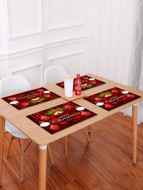 1PC Merry Christmas Bell Ball Printed Placemat - RED W18 X L12 INCH
