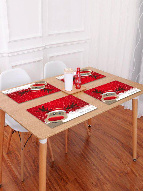 1PC Merry Christmas Deer Printed Placemat - RED W18 X L12 INCH