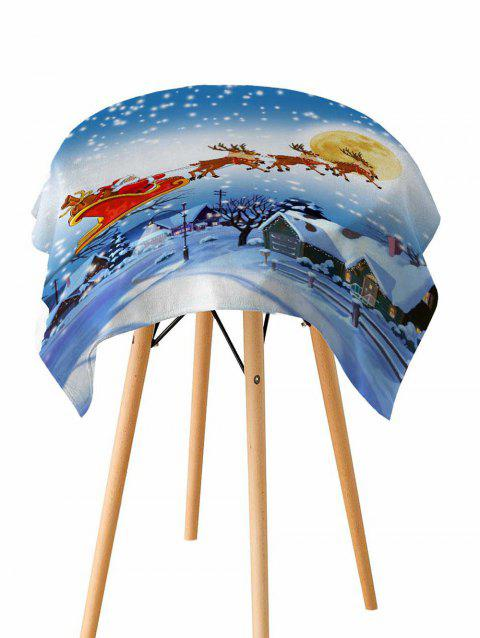 Father Christmas Deer Print Fabric Waterproof Table Cloth - CRYSTAL BLUE W54 X L54 INCH