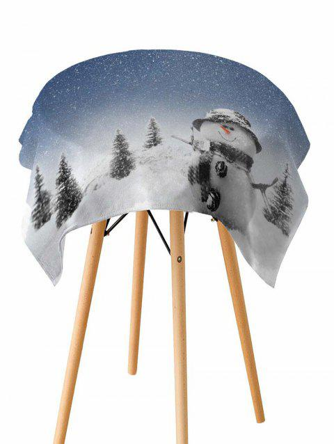 Snowman Christmas Pattern Fabric Waterproof Table Cloth - WHITE W60 X L84 INCH