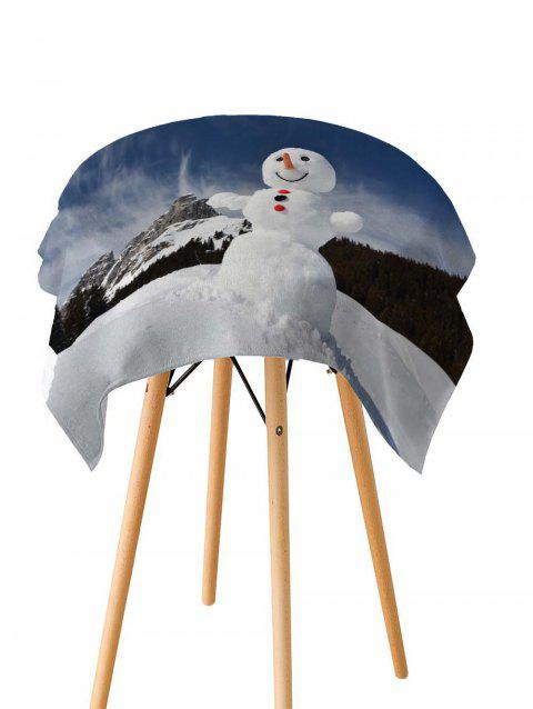 Smile Christmas Snowman Fabric Waterproof Table Cloth - WHITE W54 X L72 INCH