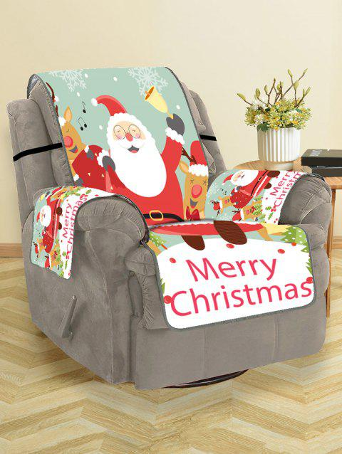 Deer Father Christmas Pattern Couch Cover - LAVA RED SINGLE SEAT