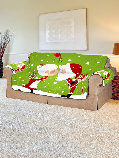 Christmas Lover Pattern Couch Cover - PISTACHIO GREEN TWO SEATS