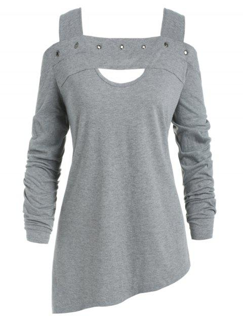 c02adbe2a73 17% OFF  2019 Cold Shoulder Plus Size Front Cut Out T-shirt In GRAY ...