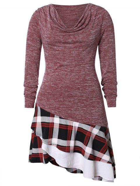 Plus Size Plaid Multilayer Hem Dress - multicolor L