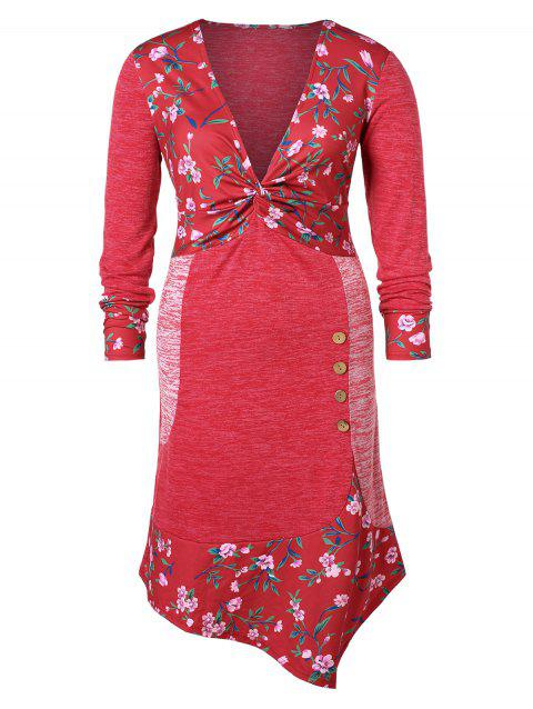 Plus Size Front Twist Floral Dress - RED 1X