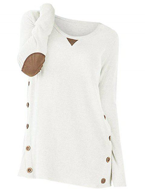 Button Long Sleeve Panel Sweater - WHITE L