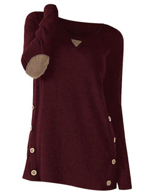 Button Long Sleeve Panel Sweater - RED WINE L