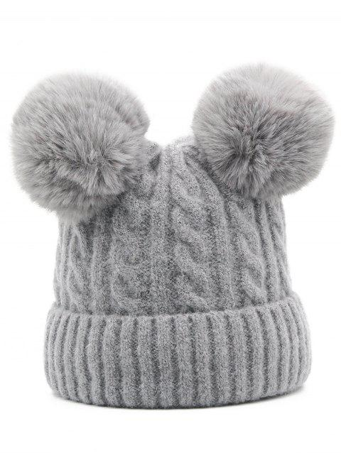 Winter Flanging Knitted Ski Hat - GRAY CLOUD