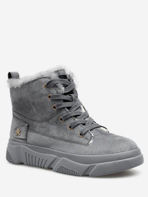 Star Detail Lacing Winter Ankle Boots - GRAY EU 38