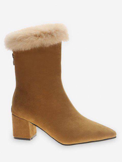 Faux Fur Pointed Toe Suede Boots - YELLOW EU 38