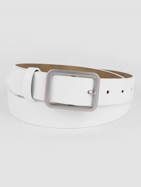 Elegant White Faux Leather Silver Buckle Belt - WHITE