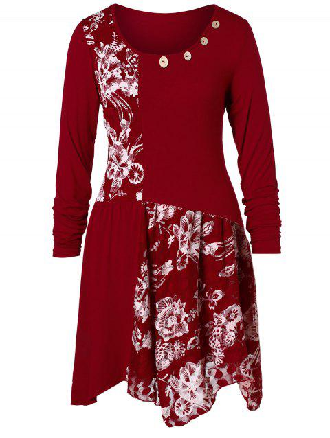 Plus Size Buttons Design Long Sleeves Flower Tee - RED WINE 5X