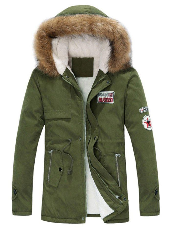 Faux Fur Hood Appliques Fluffy Lined Jacket - ARMY GREEN S