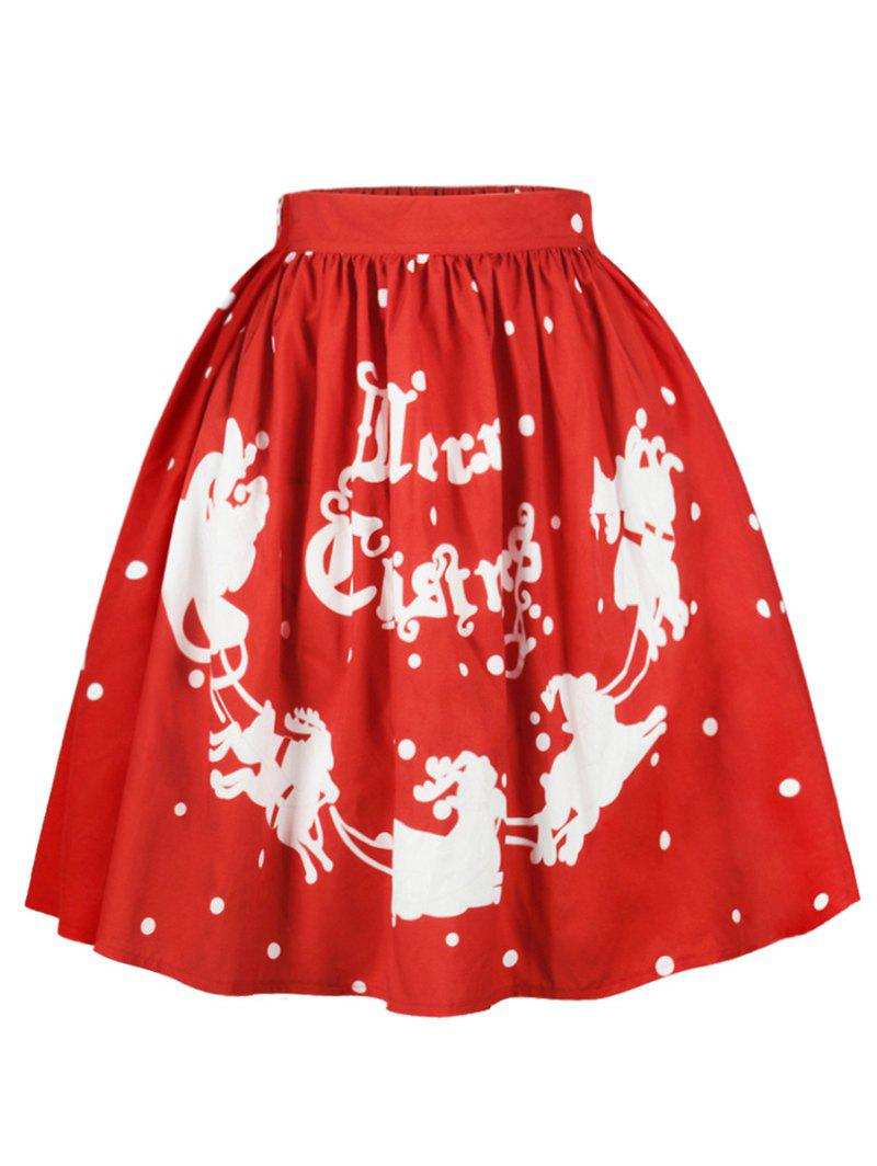Plus Size Christmas Polka Dot Sled Print Skirt - RED 3X