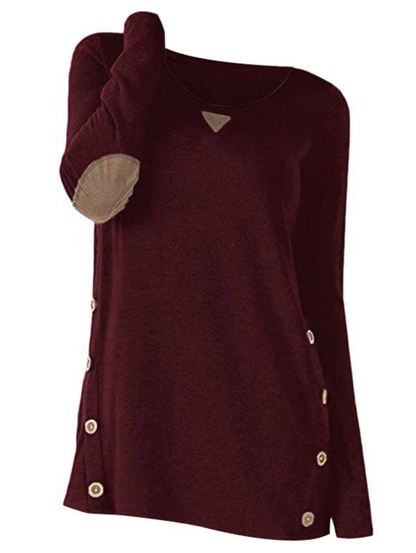 Button Long Sleeve Panel Sweater