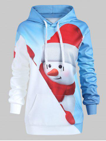 Plus Size Christmas Snowman Pullover Hoodie with Pocket