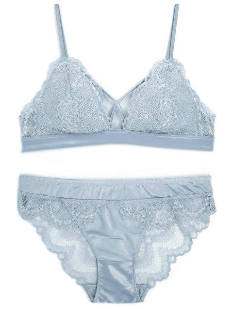 Scalloped Edge Lace Bra Set - BLUE GRAY S