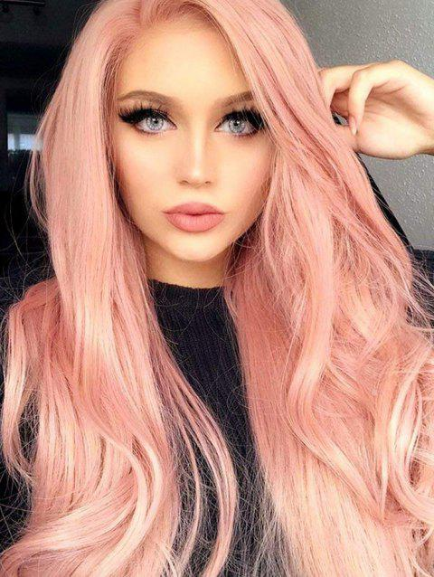 Long Capless Wavy Party Cosplay Synthetic Wig - PINK 26INCH