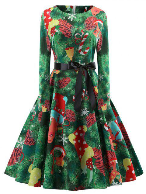 Plus Size Christmas Vintage Long Sleeves Printed Dress - GREEN 1X