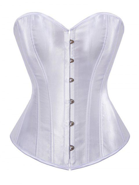Plus Size Back Lace Up Strapless Corset - MILK WHITE 5X