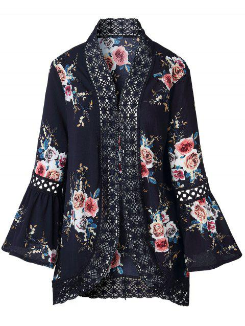 Lace Insert Floral Print Bell Sleeve Kimono - CADETBLUE XL